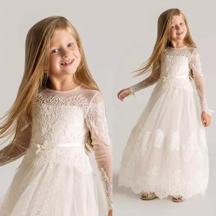 Princess Sheer Tulle Flower Girls Dresses Long Sleeves 2018 Custom Made Lace Designer First Communion Dresses Princess Sheer Tulle Flower Girls Dresses Long Sleeves 2018 Custom Made Lace Designer First Communion Dresses