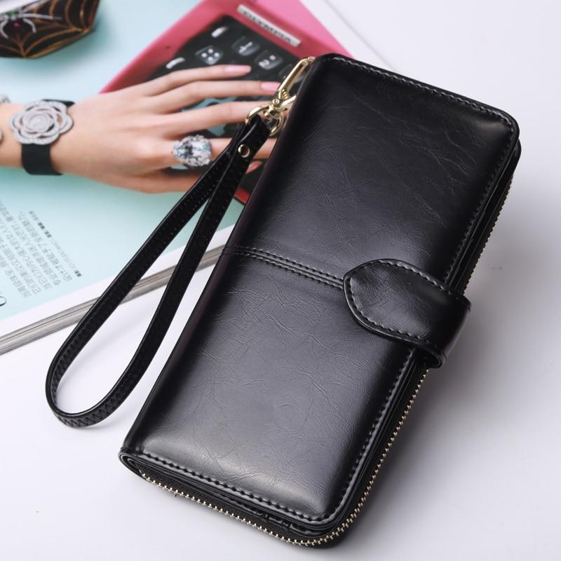 Women Lady Leather Wallet Long Zip Purse Card Holder Case Phone Clutch Handbag A
