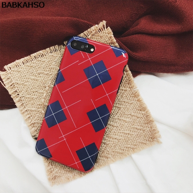 BABKAHSO Red Grid Case for iphone X 7 7Plus Phone...