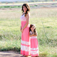 Mommy And Me Family Matching Mother Daughter Dresses Clothes Striped Mom And Daughter Dress Kids Parent
