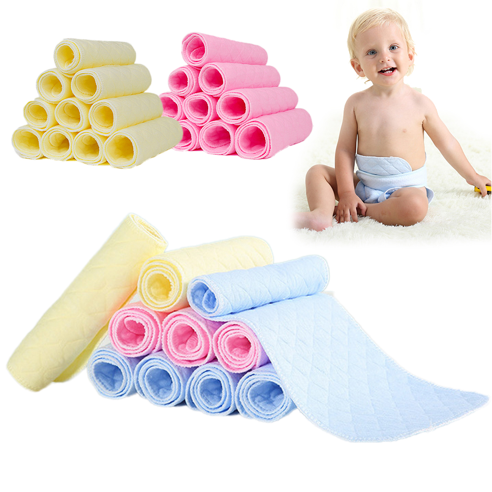 3 Colors Machine washable and dryable Ecological Cotton Baby Cotton Diaper Nappy Liners Insert Layer Reusable