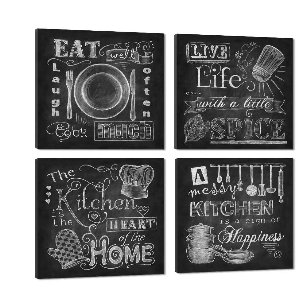 Wall Art Abstract Chalkboard Kitchen Signs Canvas Prints Cook Paintings Kitchen Home Heart Decor Life Spice Pictures 4 Panel