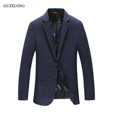 Wool single breasted slim men's plaid  blazer