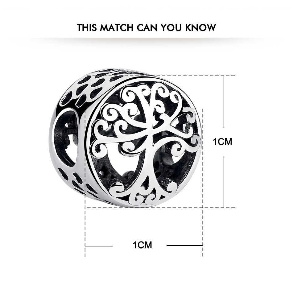 925 стерлингового серебра Дерево жизни бусины классические Семейные корень Шарм бусины подходят оригинальные браслеты ожерелья для женщин DIY ювелирные изделия