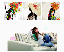 5D diamond painting girl, flowers full square drill rhinestone 3d living room decoration embroidery landscape,