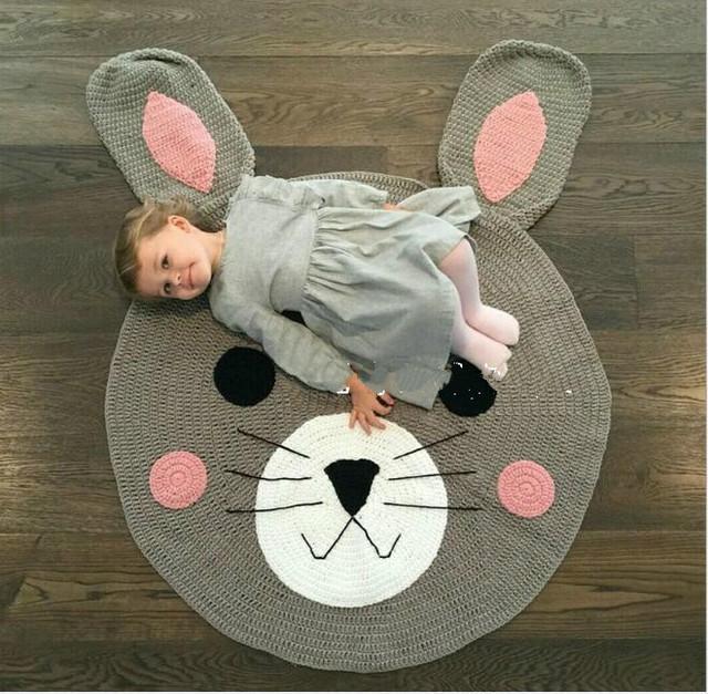 Tejer conejo swaddle muselina manta de bebé oso lindo crawling mat inicio decorativo abrigo del bebé juego recién nacido accesorios de fotografía