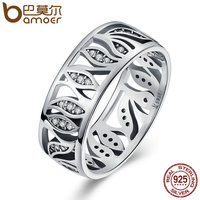 BAMOER High Quality 925 Sterling Silver Flower Leaf Leaves Story Clear CZ Ring For Women Sterling