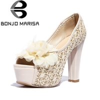 BONJOMARISA Women's Sweet Flower Shinning Lace Upper Party Wedding Shoes Woman High Heels Peep Toe Platform Pumps Big Size 33 43