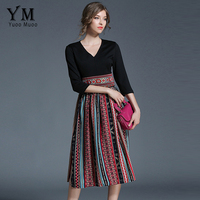 YuooMuoo New European Style Chiffon Patchwork Dress V Neck Casual Midi Dress High Quality Luxury Women