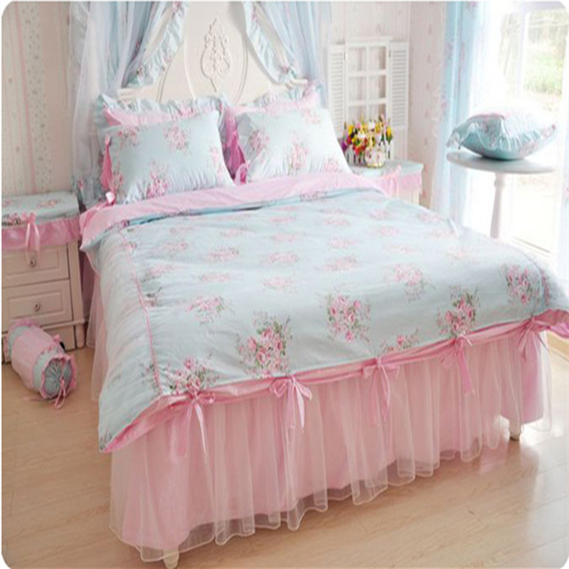 elegant bedding set flower print duvet cover ruffle lace bed sheet