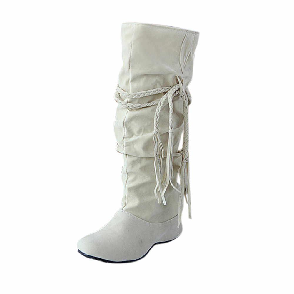 CAGACE 2018 Frauen Marke Stiefel Erhöhen Plattformen Oberschenkel Hohe Tessals Stiefel Motorrad Schuhe Mädchen botas Hohe Tessals Winter Stiefel