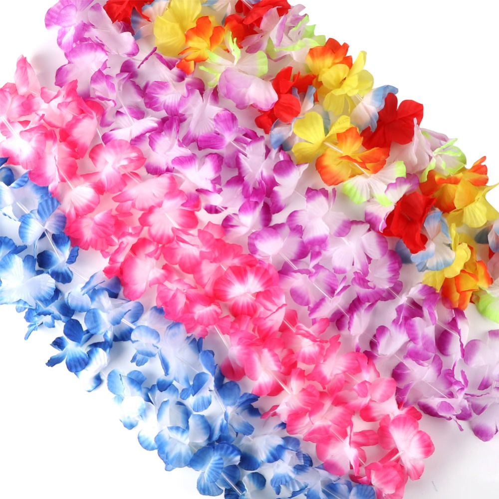OurWarm 12pcs Hawaiian Party Decorations Flower Necklace Leis 100cm Silk Garlands Door Decoration