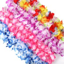 OurWarm 12pcs Hawaiian Party Decorations Hawaiian Flower Necklace Hawaiian Leis 100cm Silk Flower Garlands Door Decoration(China)