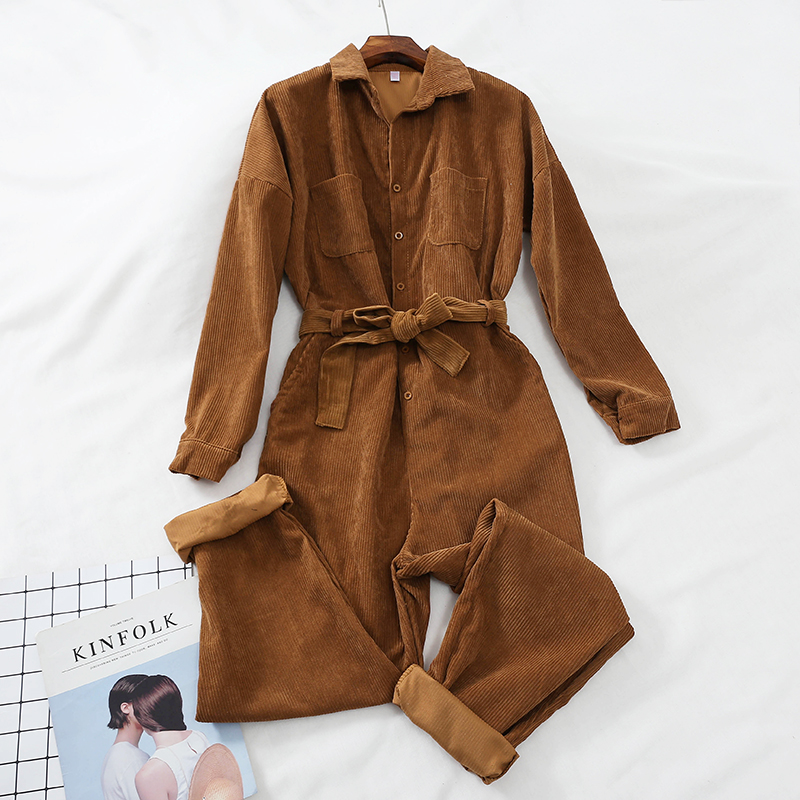 Corduroy Hoge Taille Retro Vrouwen Jumpsuit Enkellange Streetwear Lente Herfst Vrouwelijke Kleding Om Geavanceerde Technologie Te Adopteren