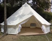 Glamping Holiday 4 season waterproof canvas fabric bell tent for famliy camping