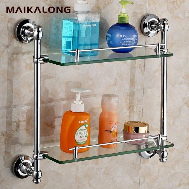 Double Bathroom Shelves,Glass Shelf,Brass Made with Chrome finish ...