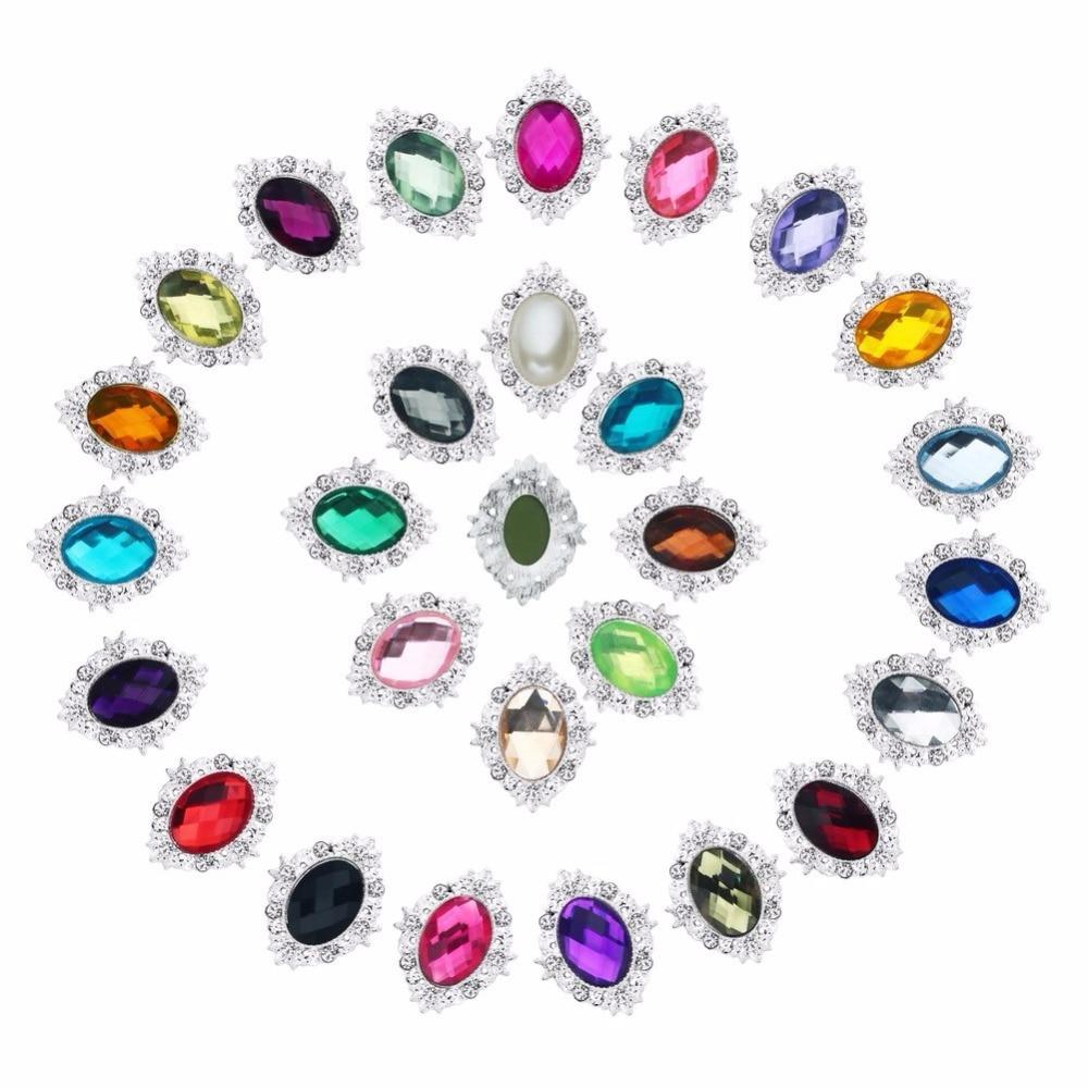 ₩10 unids/lote 32*25mm rhinestone botón BTN-5672 envío libre cristal ...