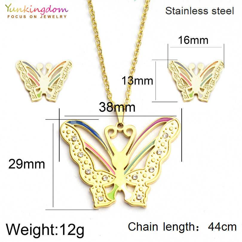 Yunkingdom Elegante Vlinder Strass Sieraden Sets Voor Vrouwen Fashion Rvs Hanger Ketting Oorbel Set UE0152