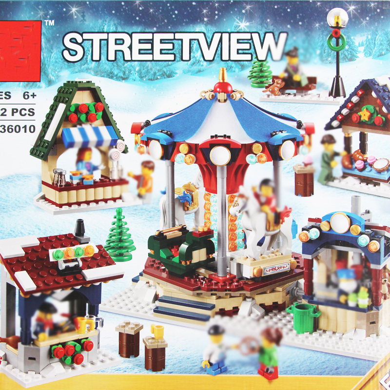 building bricks 36010 Christmas StreetView 1412pcs Merry-go-round Building Blocks Toys f ...