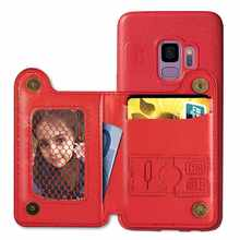 Retro Card Holder Stand Wallet Phone Case For Samsug S9 5.8 inch cover for Samsug S9 Plus 6.2 inch PU Leather phone case(China)