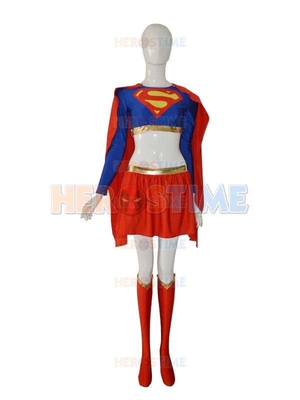 Nový supergirl kostým Royal Blue & Red spandex Žena Supergirl Superhero kostým Nejoblíbenější šaty