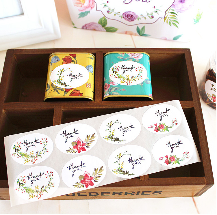 120pcs lot decoration stickers thank you cup gift box for Application box decoration