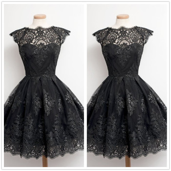 Knee-Length Cocktail Dresses Vintage Black White Lace Vestido Coctel Short Graduation Party Gown Women Cap Sleeve Robe Cocktail Cocktail Dresses