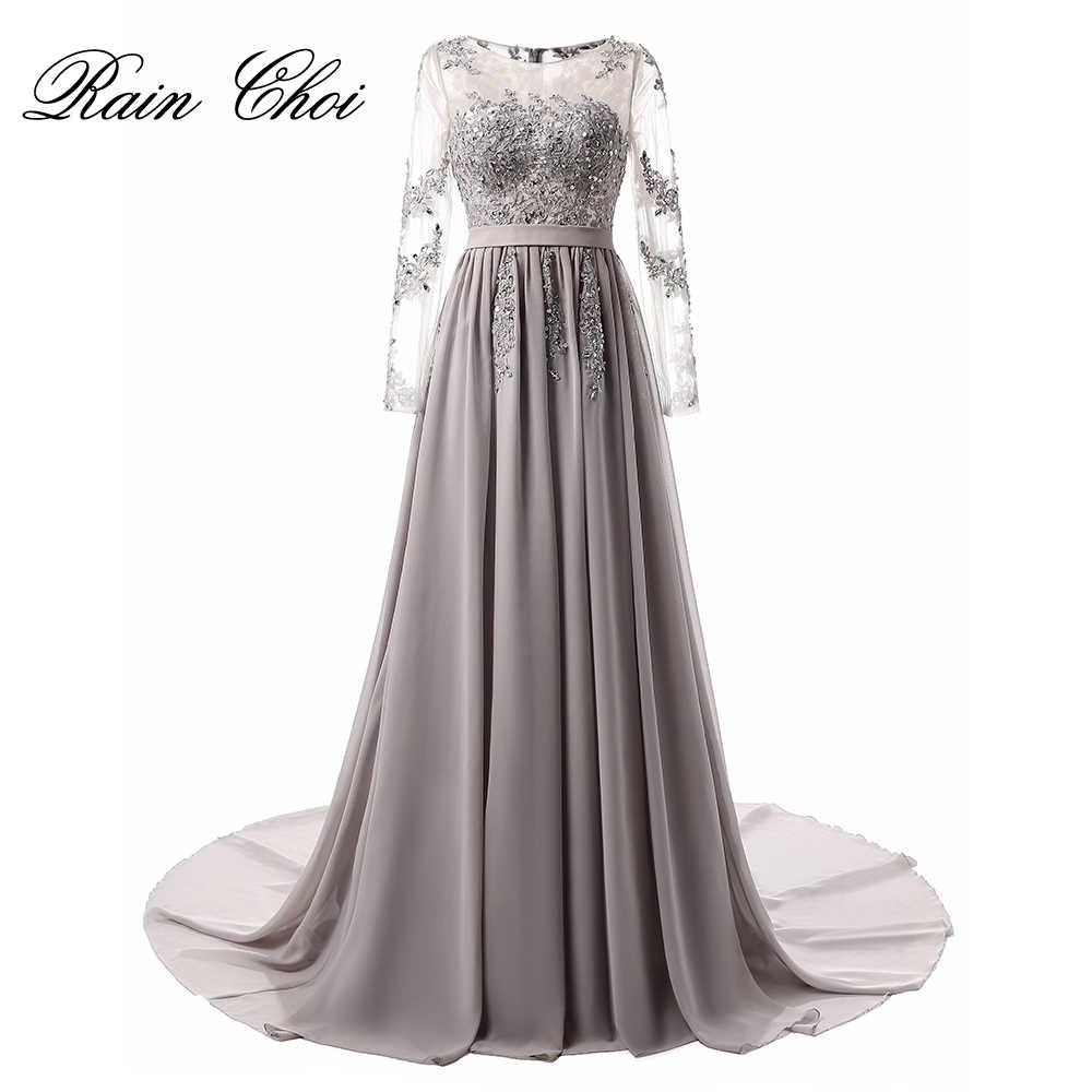 6c06c270dca С длинным рукавом вечернее платье 2019 Аппликации шифон Платья для  вечеринок халат de Soiree Элегантное Длинное