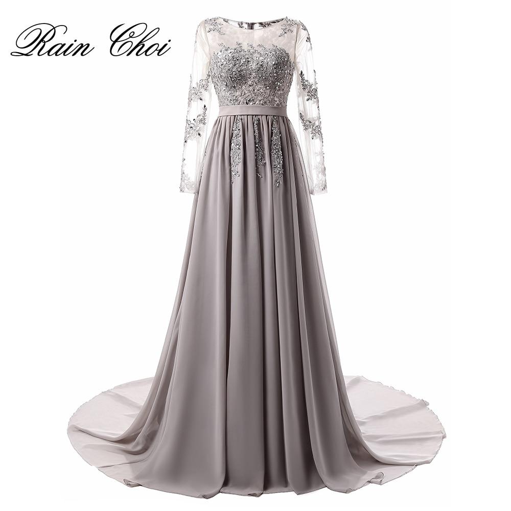 Вечірнє плаття з довгим рукавом 2019 Аплікації Шифон Вечірні сукні Халат де вечор Елегантний довгий вечірній сукню