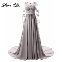 Long Sleeve Evening Dress 2017 Appliques Chiffon Party Dresses Robe de Soiree Elegant Gown