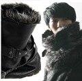 Горячие мужчины панк мода внутри мягкой мехом наружу кожи ветрозащитный кольцо шарф глушитель плюс два ремни осень / зима бесплатная доставка