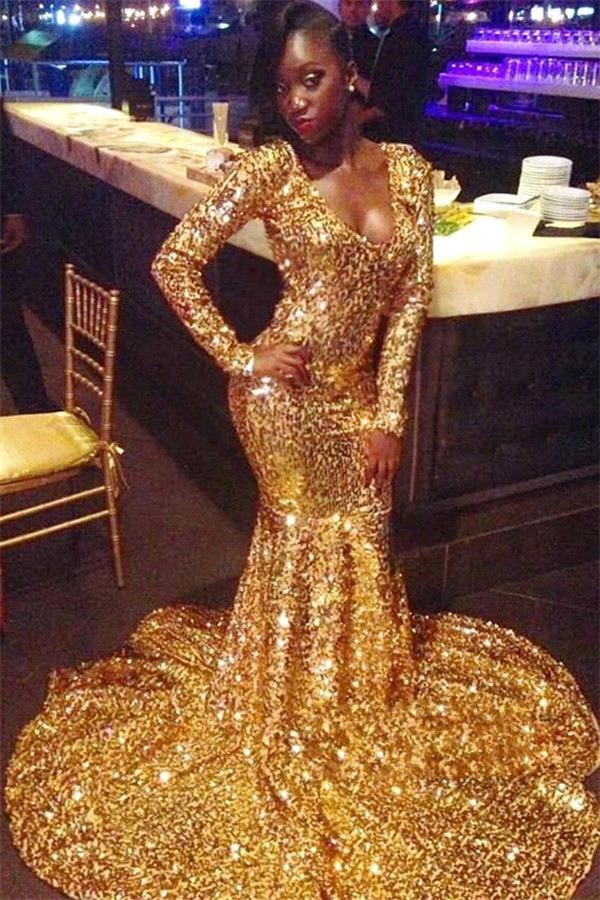 Sparkly Gold Sequins African Long Sleeve Prom Dresses 2019 Sexy V Neck Women Mermaid Evening Party Gowns For Black Girls