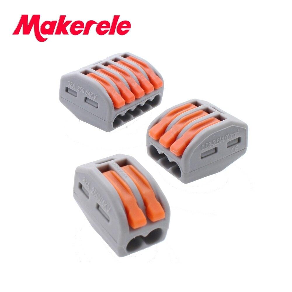 (60 PCS) Makerele Type PCT-212 213 215 20pcs 2P + 20pcs 3P + 20pcs 5P Universal Compact Wire Connector Conductor Terminal Block