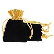 100 adet Kadife takı çantaları 10x12cm Siyah/Kırmızı Yılbaşı Partisi Düğün Favor hediye çantası Ucuz İpli Torbalar Olabilir özel Logo