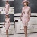 Vestido Де Madrinha 2016 Плюс Размер Мать Невесты платья с Половиной Рукав Куртки Розовый Атласные Кружева Scoop Вечерние платья