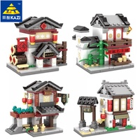 2017 Kazi 4 kinds/set Chinese Culture Mini Street View China Street Ancient Architecture Model 2 in 1 kids Building Blocks Toys