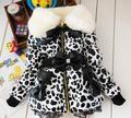 Leopardo de la manera Del Bebé de Invierno Parkas Niños abrigo Niños Chicas Faux Fur Fleece Partido Abrigo de Invierno Parkas de abrigo