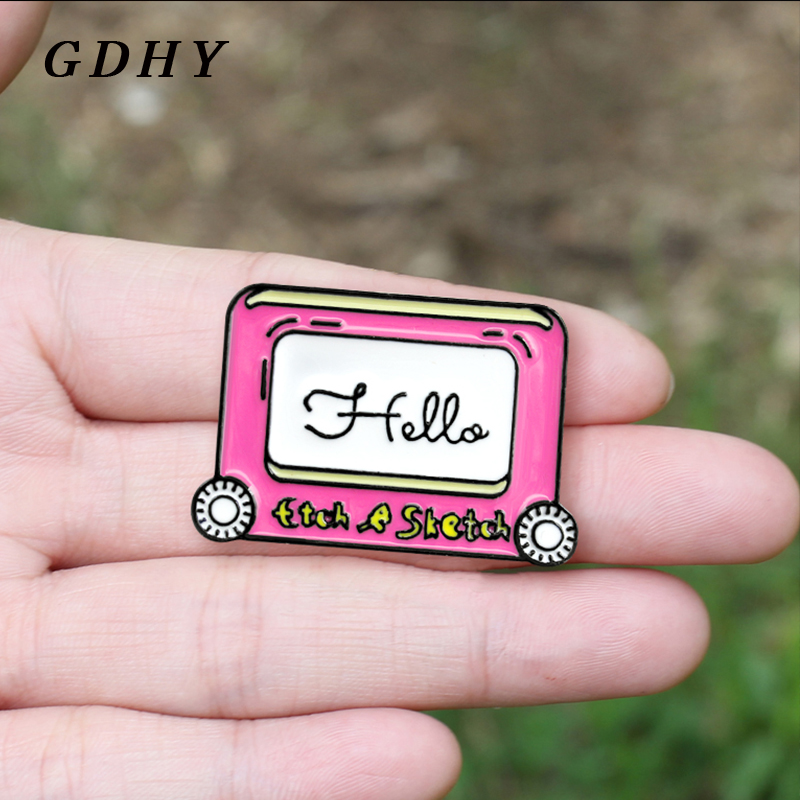 GDHY HELLO Drawing Sketchpad Brooch Sketch Sketchpad Notebook Enamel Pins For Kids Friends Artists Gifts Backpack Badge Jewelry image