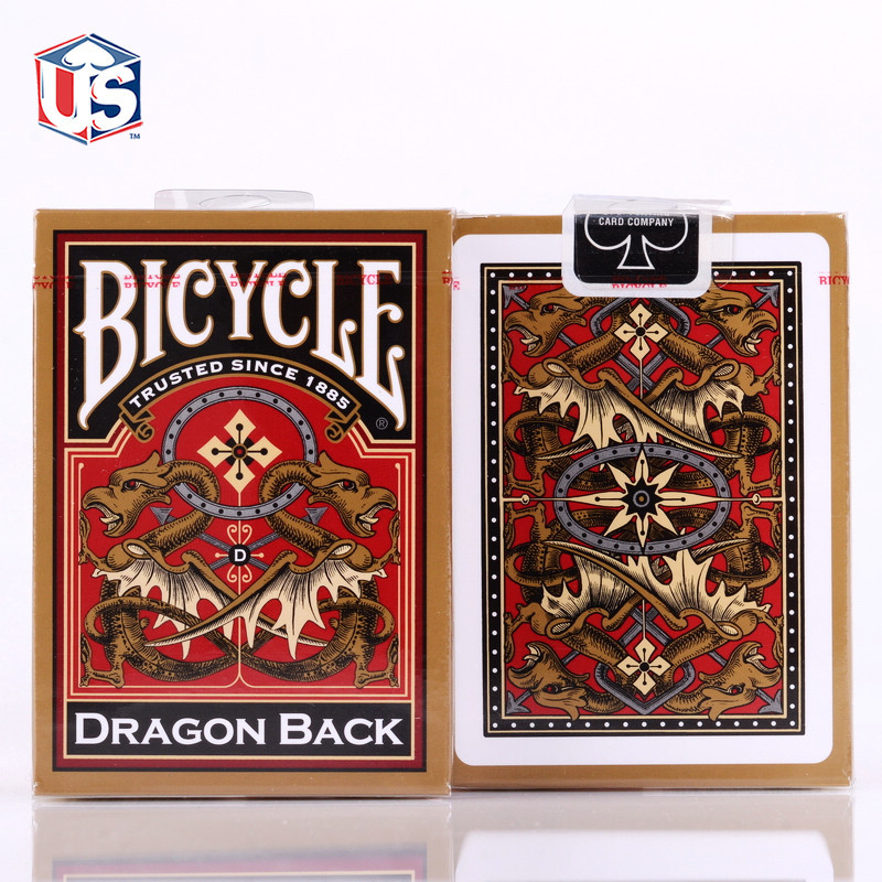 1 deck Bicycle Gold Dragon Back Playing Cards Magic Cards Poker Close Up Stage Magic Tri ...