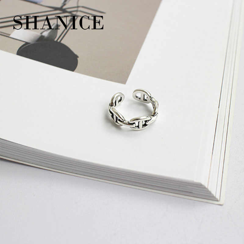 SHANICE Do The Old 925 Sterling Silver Ring Chain Opening Simple Design Rings Korea Style Retro Silver Jewelry Bijoux Femme