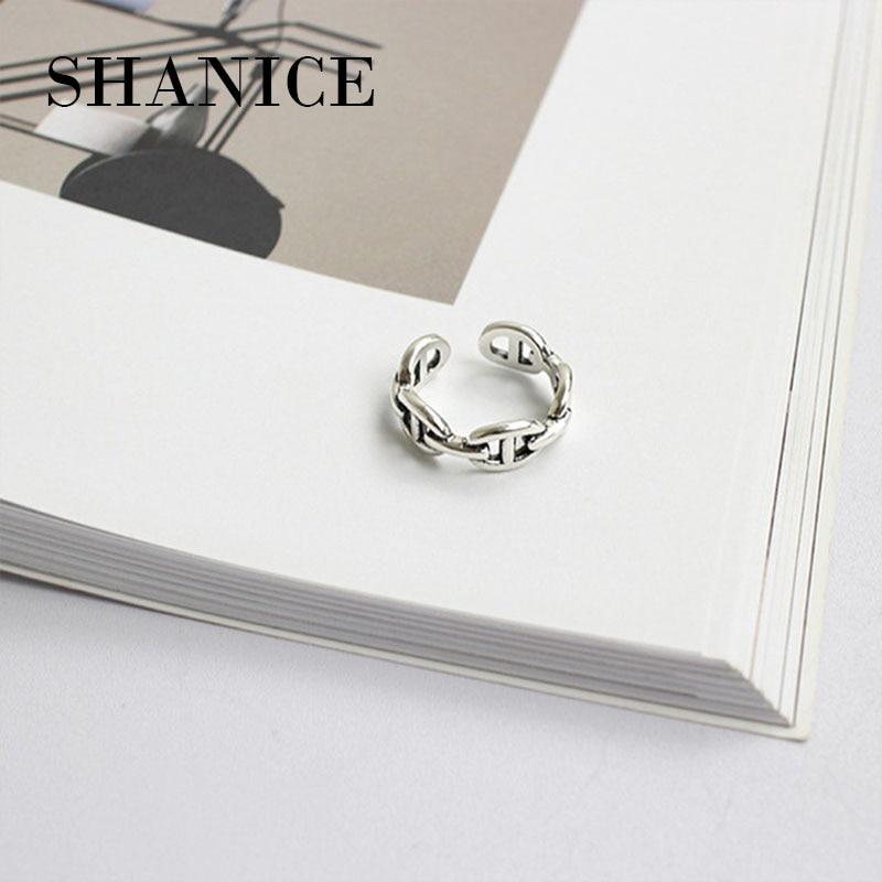 SHANICE Tun Die Alten 925 Sterling Silber Ring Kette Öffnen Einfach Design Ringe Korea Stil Retro Silber Schmuck Bijoux Femme