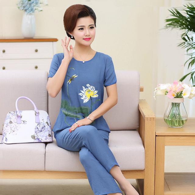 Talla grande XL-4XL ropa de dormir para mujer 2 piezas Tops pantalones Pijamas conjuntos ropa de dormir primavera otoño Camisón de algodón ropa