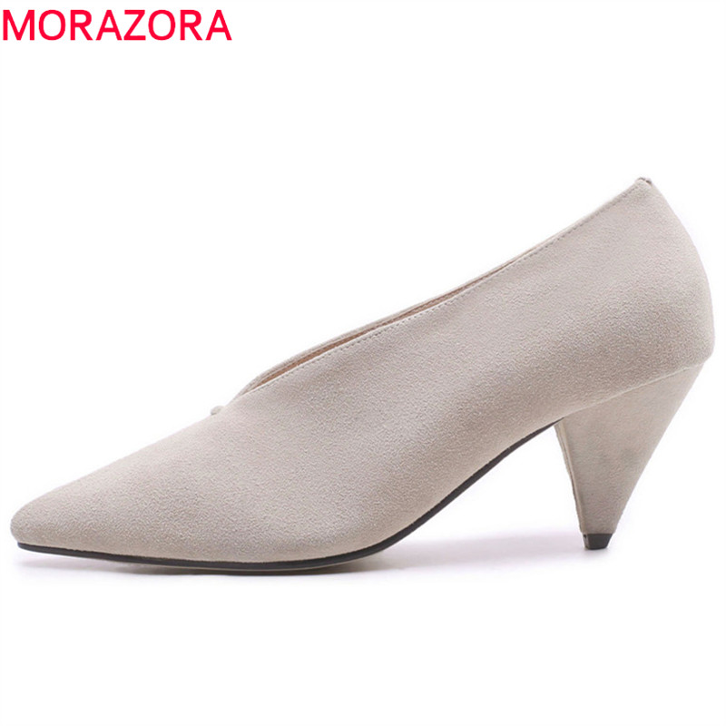 MORAZORA 2018 high quality women pumps spring summer fashion shoes pointed toe shallow dress shoes 7.5cm high heels shoes woman morazora new arrive woman pumps spring summer sweet bowknot fashion splice color sexy thin heels pointed toe buckle shoes woman