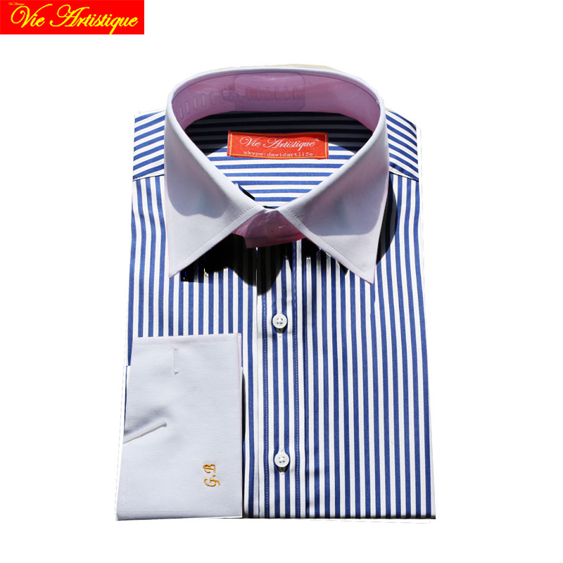 601b528352 men's long sleeve grey white pin striped dress shirts male tailored ...