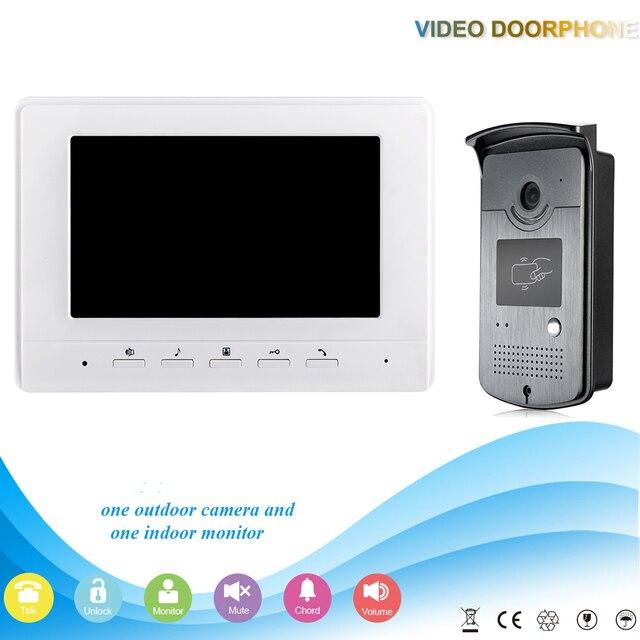 Белый 7 дюймов Видео-Телефон Двери Интерком Дверной Звонок Система 1 Контроля Доступа RFID Водонепроницаемый комплект Камеры