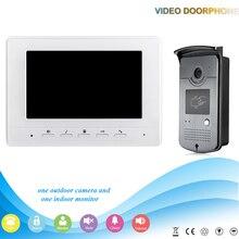 Blanco 7 pulgadas de Color de Vídeo Teléfono de La Puerta Sistema de Intercomunicación Del Timbre 1 Monitor de Acceso RFID A Prueba de agua kit de Cámara