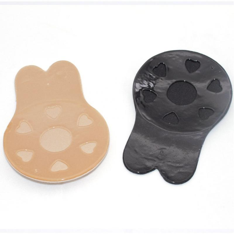 1 Pair Pads Rabbit Shaped Women Pasties Accessories Invisible Bra Nipple Cover Black