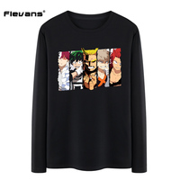 Flevans Spring Autumn Long Sleeve Men Fashion T Shirts Japanese Anime Boku No Hero Academia Cartoon
