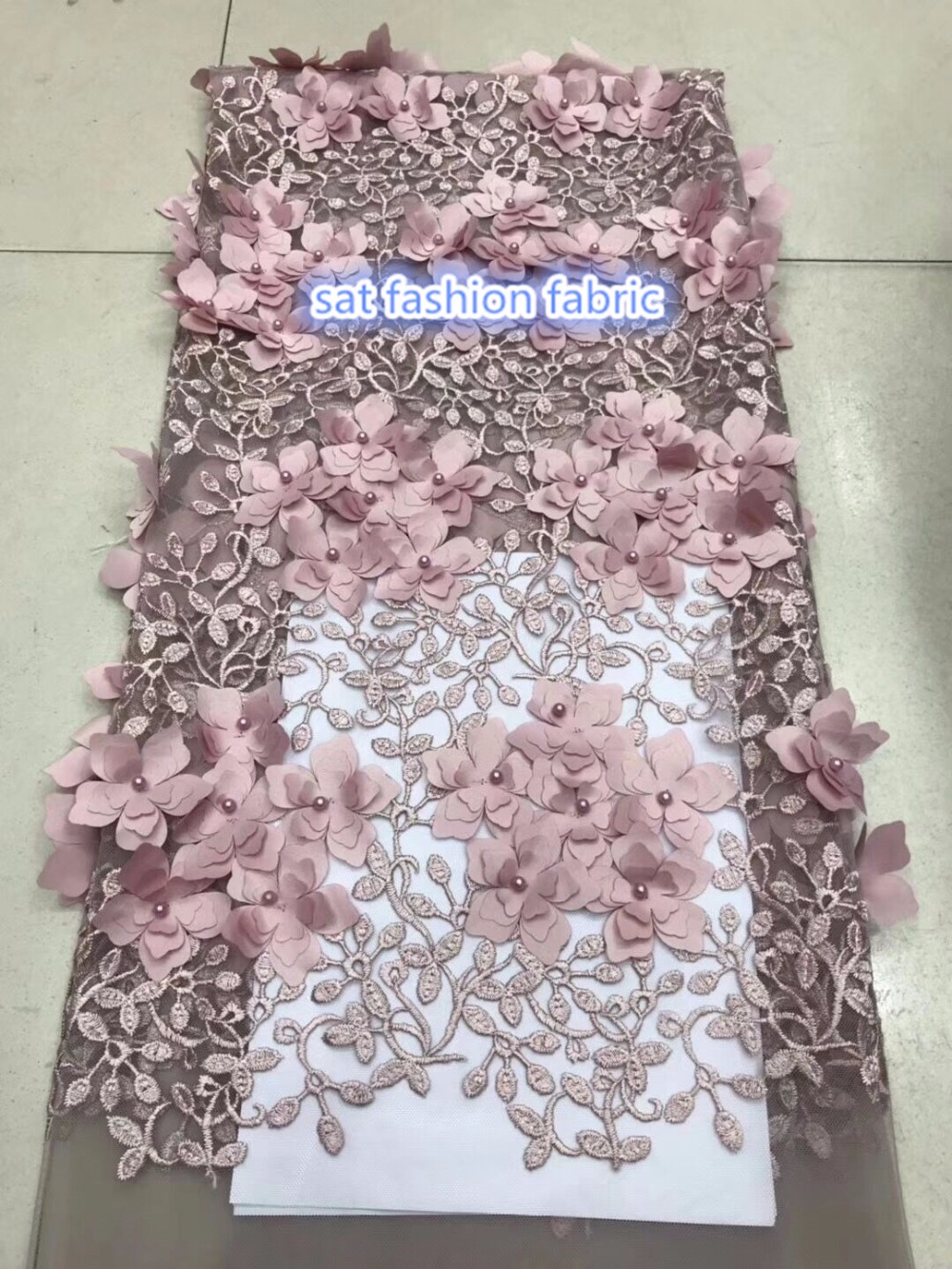 SAT 666 13 luxury 3d flower embroidery tulle mesh lace fabric with beads