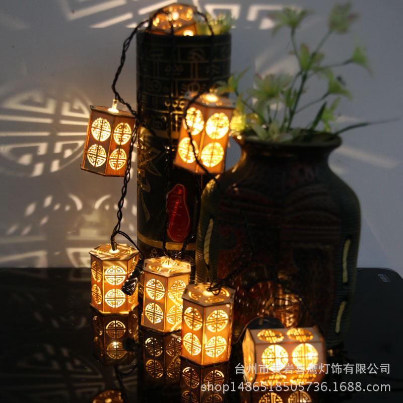 Outdoor Decoration Products Indoor Chinese Style Arrangement Lantern Wooden Lantern String Lights New Year Christmas Day Light new 180 indoor outdoor day
